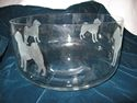 ID-#44.Glass salad or fruit bowl with etched Shar-Pei figures